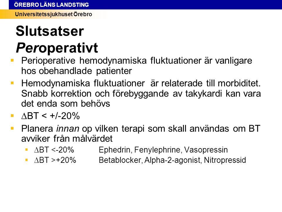 Universitetssjukhuset Örebro ÖREBRO LÄNS LANDSTING Slutsatser Peroperativt  Perioperative hemodynamiska fluktuationer är vanligare hos obehandlade pa