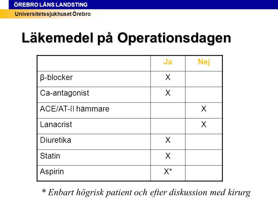 Universitetssjukhuset Örebro ÖREBRO LÄNS LANDSTING JaNej β-blockerX Ca-antagonistX ACE/AT-II hämmareX LanacristX DiuretikaX StatinX AspirinX* Läkemede