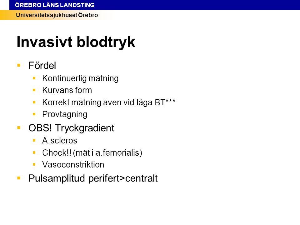 Universitetssjukhuset Örebro ÖREBRO LÄNS LANDSTING Invasivt blodtryk  Fördel  Kontinuerlig mätning  Kurvans form  Korrekt mätning även vid låga BT