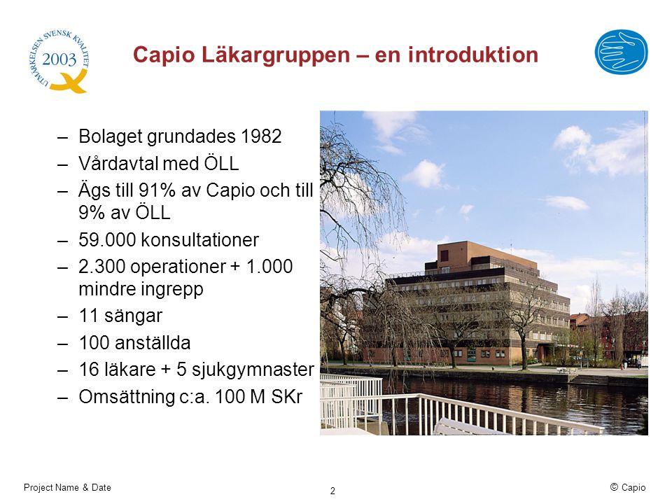 Project Name & Date © Capio 2 Capio Läkargruppen – en introduktion –Bolaget grundades 1982 –Vårdavtal med ÖLL –Ägs till 91% av Capio och till 9% av ÖL