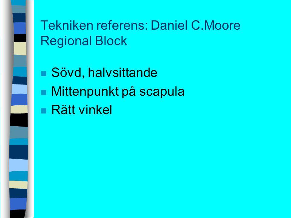 Tekniken referens: Daniel C.Moore Regional Block n Sövd, halvsittande n Mittenpunkt på scapula n Rätt vinkel