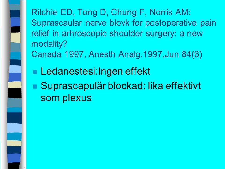 Canada n Bra lagd suprascapulär blockad ta bort 70% av dem sensoriska nerver.