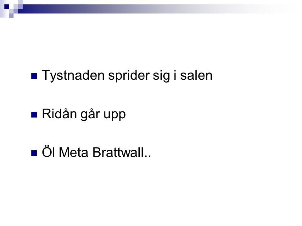 Tystnaden sprider sig i salen Ridån går upp Öl Meta Brattwall..