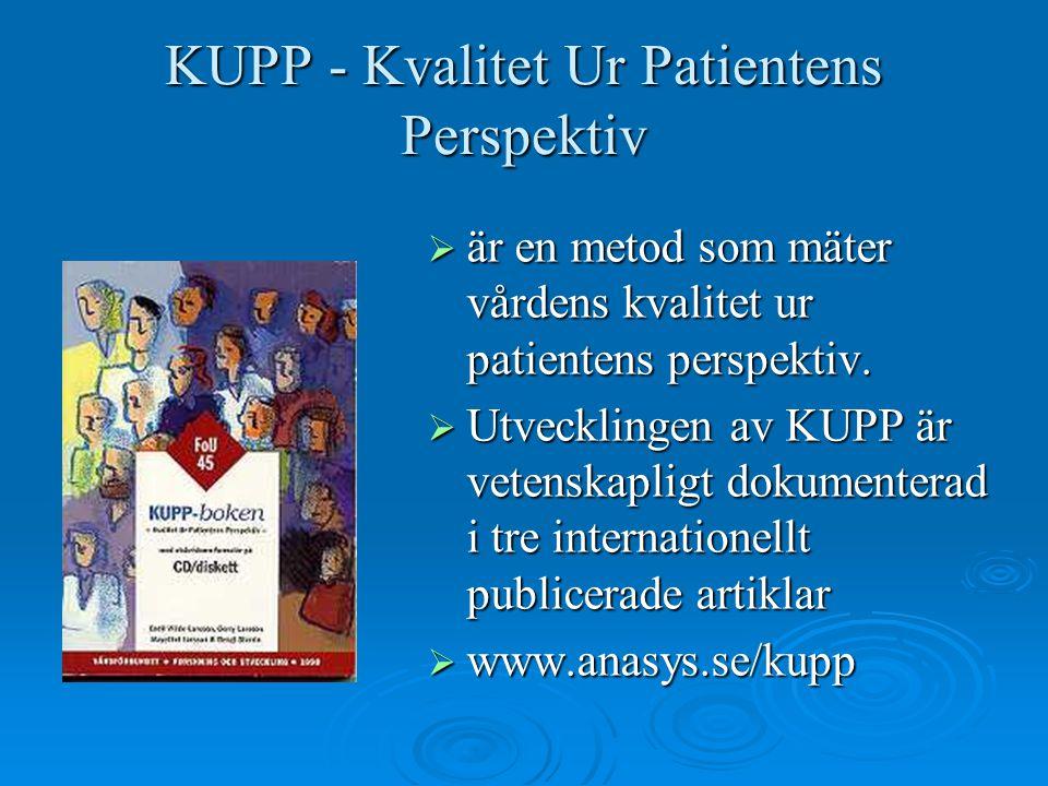 KUPP - Kvalitet Ur Patientens Perspektiv  är en metod som mäter vårdens kvalitet ur patientens perspektiv.  Utvecklingen av KUPP är vetenskapligt do