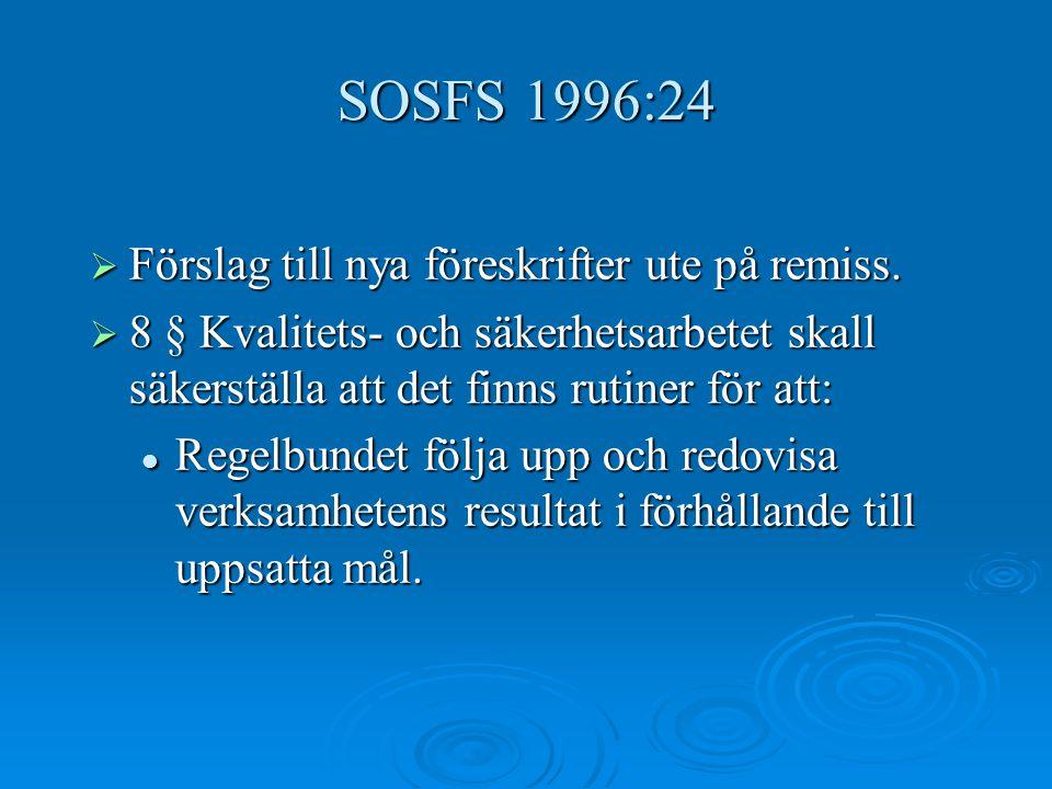 SOSFS 1996:24  Förslag till nya föreskrifter ute på remiss.  8 § Kvalitets- och säkerhetsarbetet skall säkerställa att det finns rutiner för att: Re