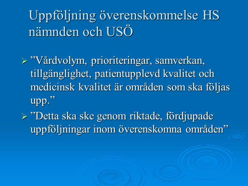 """Uppföljning överenskommelse HS nämnden och USÖ  """"Vårdvolym, prioriteringar, samverkan, tillgänglighet, patientupplevd kvalitet och medicinsk kvalitet"""