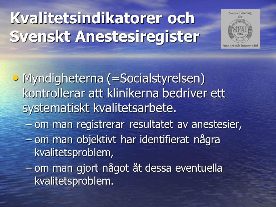 Kvalitetsindikatorer och Svenskt Anestesiregister Myndigheterna (=Socialstyrelsen) kontrollerar att klinikerna bedriver ett systematiskt kvalitetsarbe