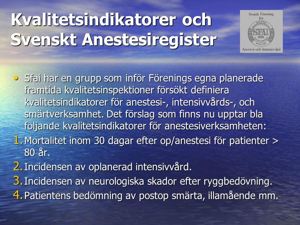 Kvalitetsindikatorer och Svenskt Anestesiregister Sfai har en grupp som inför Förenings egna planerade framtida kvalitetsinspektioner försökt definier
