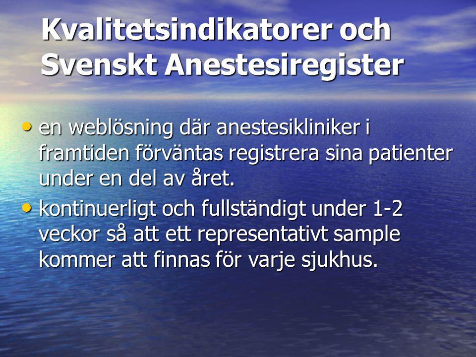 Kvalitetsindikatorer och Svenskt Anestesiregister en weblösning där anestesikliniker i framtiden förväntas registrera sina patienter under en del av å