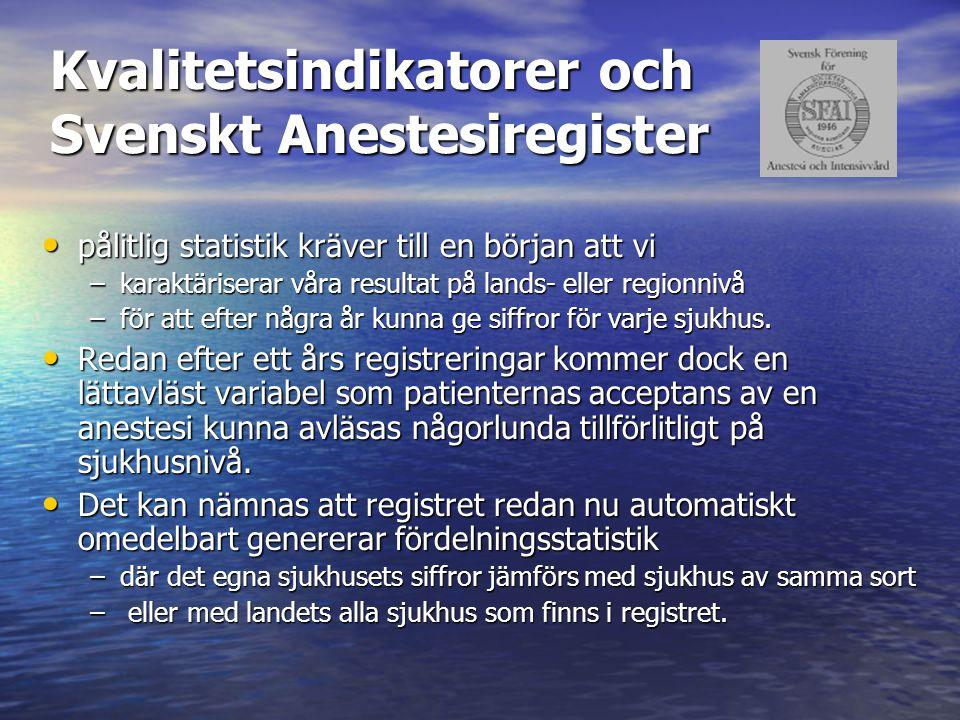 Kvalitetsindikatorer och Svenskt Anestesiregister pålitlig statistik kräver till en början att vi pålitlig statistik kräver till en början att vi –kar