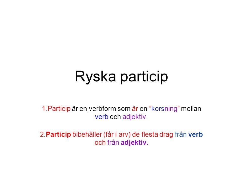 """Ryska particip 1.Particip är en verbform som är en """"korsning"""" mellan verb och adjektiv. 2.Particip bibehåller (får i arv) de flesta drag från verb och"""