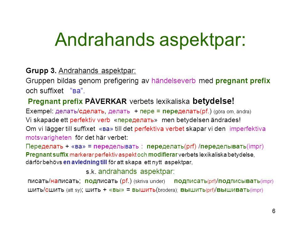 """Andrahands aspektpar: Grupp 3. Andrahands aspektpar: Gruppen bildas genom prefigering av händelseverb med pregnant prefix och suffixet """"ва"""". Pregnant"""