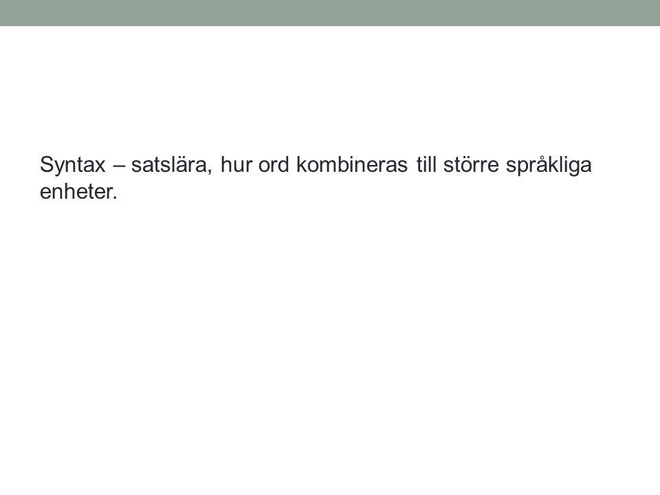 Syntax – satslära, hur ord kombineras till större språkliga enheter.