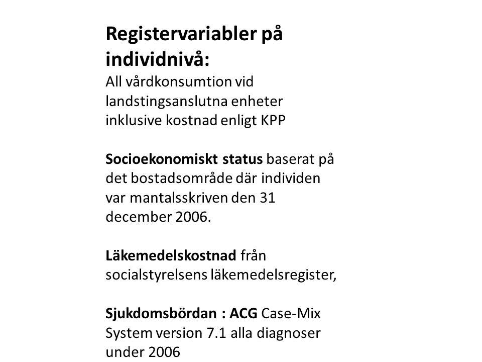 Registervariabler på individnivå: All vårdkonsumtion vid landstingsanslutna enheter inklusive kostnad enligt KPP Socioekonomiskt status baserat på det