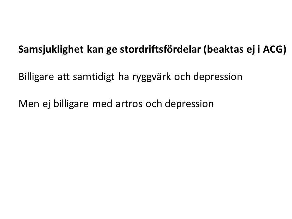 Samsjuklighet kan ge stordriftsfördelar (beaktas ej i ACG) Billigare att samtidigt ha ryggvärk och depression Men ej billigare med artros och depressi