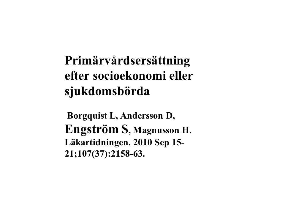 Primärvårdsersättning efter socioekonomi eller sjukdomsbörda Borgquist L, Andersson D, Engström S, Magnusson H. Läkartidningen. 2010 Sep 15- 21;107(37
