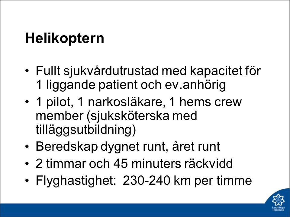 Helikoptern Fullt sjukvårdutrustad med kapacitet för 1 liggande patient och ev.anhörig 1 pilot, 1 narkosläkare, 1 hems crew member (sjuksköterska med