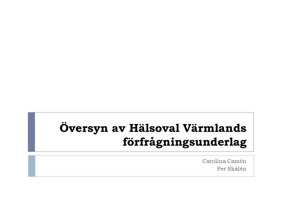 Översyn av Hälsoval Värmlands förfrågningsunderlag Carolina Camén Per Skålén