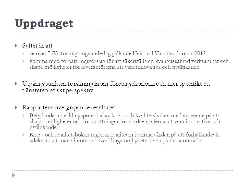 Uppdraget  Syftet är att  se över LiVs förfrågningsunderlag gällande Hälsoval Värmland för år 2012  komma med förbättringsförslag för att säkerstäl