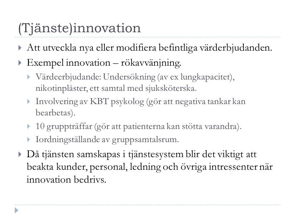(Tjänste)innovation  Att utveckla nya eller modifiera befintliga värderbjudanden.  Exempel innovation – rökavvänjning.  Värdeerbjudande: Undersökni