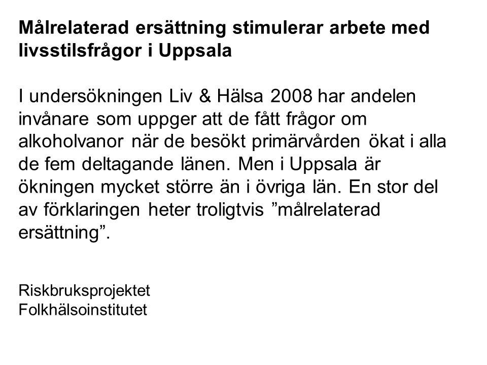 MÅLRELATERAD ERSÄTTNING 2010 Akademiska sjukhuset 158 Mkr (4 %) Lasarettet i Enköping 13 Mkr (4 %) Vårdcentralsuppdraget inom 5 % av förväntad Primärvården kapitering (ca 27 mkr) Habilitering och Hjälpmedel 2 Mkr (1 %) TOTALT: 200 mkr