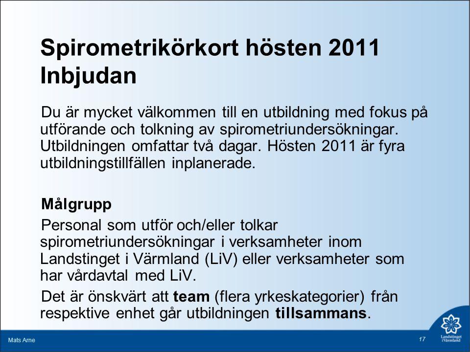 Spirometrikörkort hösten 2011 Inbjudan Du är mycket välkommen till en utbildning med fokus på utförande och tolkning av spirometriundersökningar. Utbi