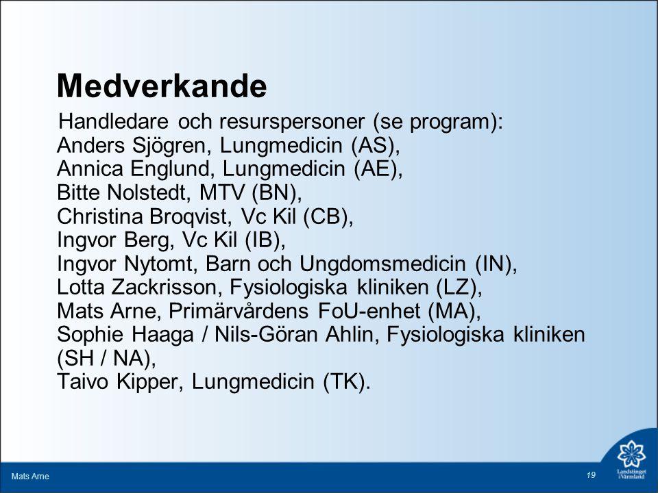 Medverkande Handledare och resurspersoner (se program): Anders Sjögren, Lungmedicin (AS), Annica Englund, Lungmedicin (AE), Bitte Nolstedt, MTV (BN),