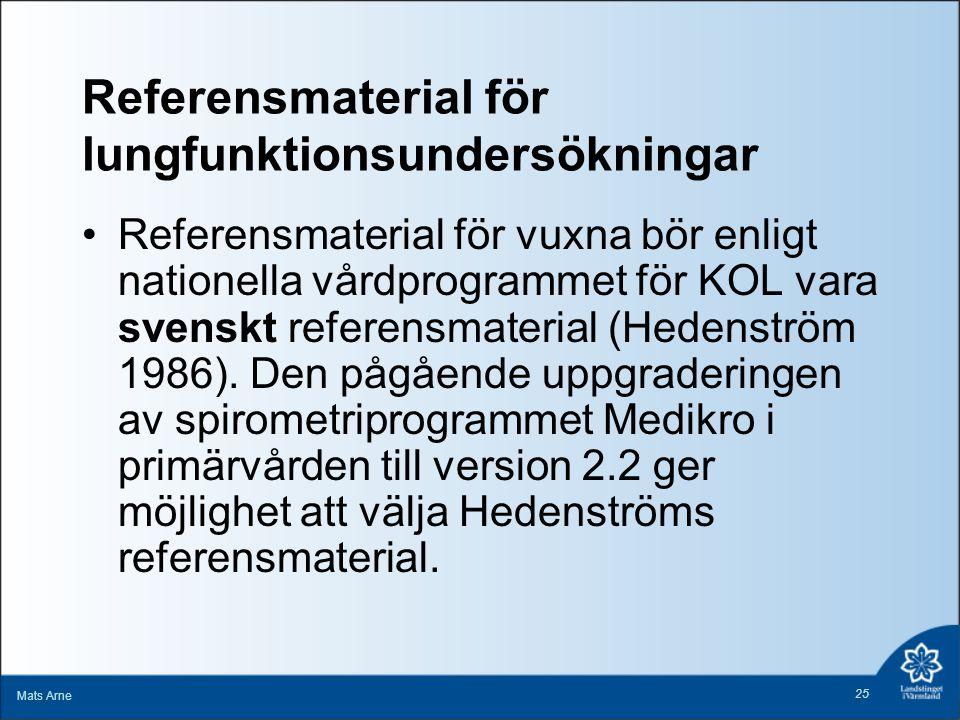 Referensmaterial för lungfunktionsundersökningar Referensmaterial för vuxna bör enligt nationella vårdprogrammet för KOL vara svenskt referensmaterial