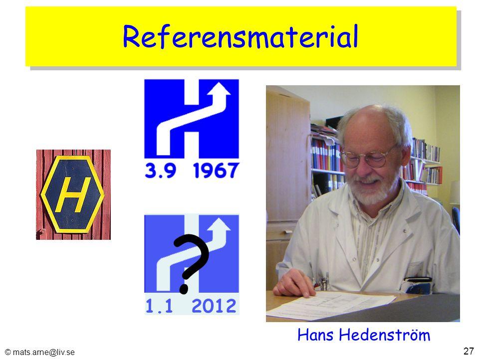 Referensmaterial © mats.arne@liv.se 27 1.1 2012 Hans Hedenström ?