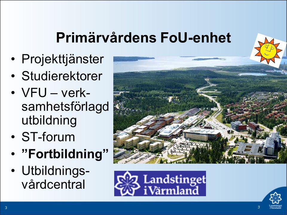 """3 3 Primärvårdens FoU-enhet Projekttjänster Studierektorer VFU – verk- samhetsförlagd utbildning ST-forum """"Fortbildning"""" Utbildnings- vårdcentral"""