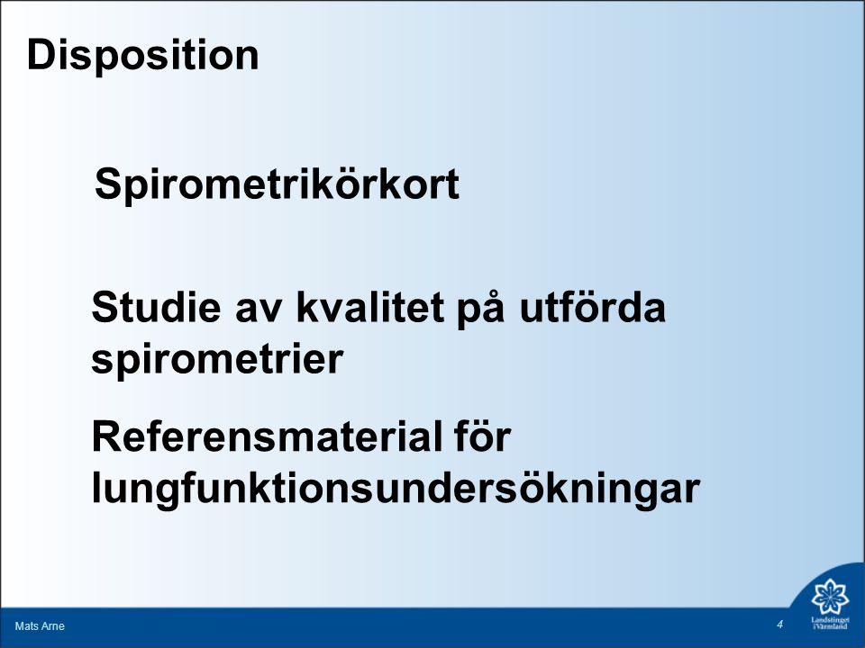 Spirometrikörkort Mats Arne 4 Referensmaterial för lungfunktionsundersökningar Studie av kvalitet på utförda spirometrier Disposition