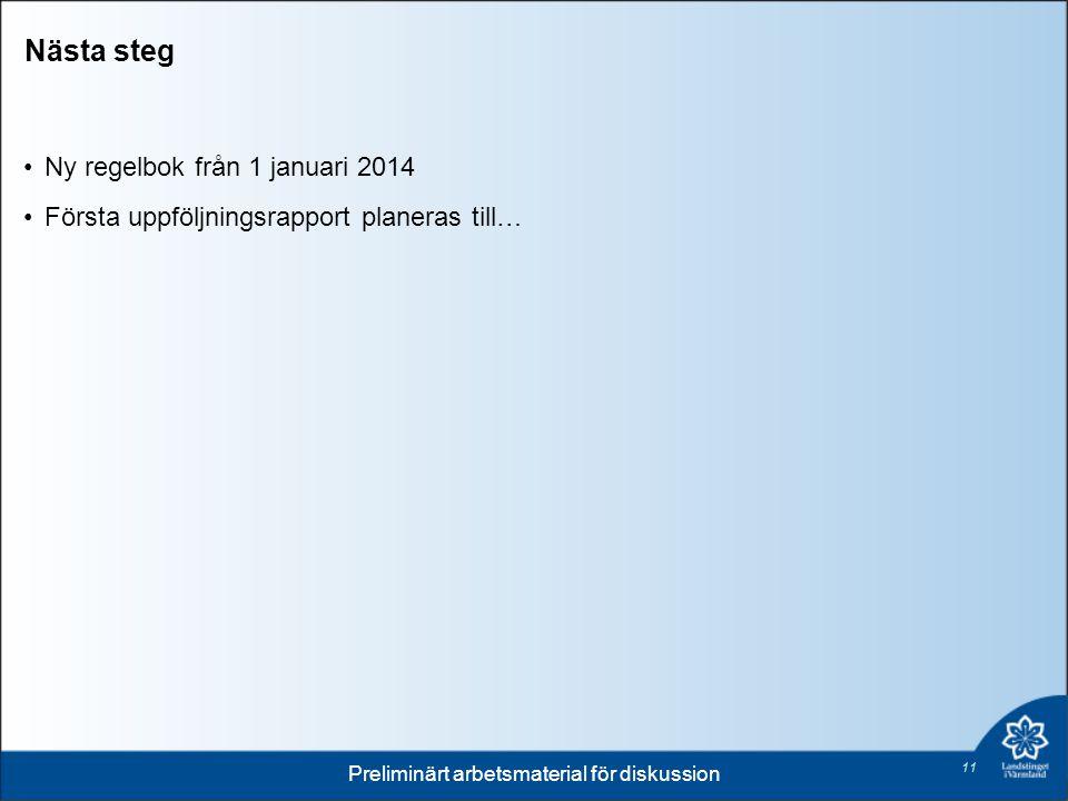 Nästa steg 11 Ny regelbok från 1 januari 2014 Första uppföljningsrapport planeras till… Preliminärt arbetsmaterial för diskussion