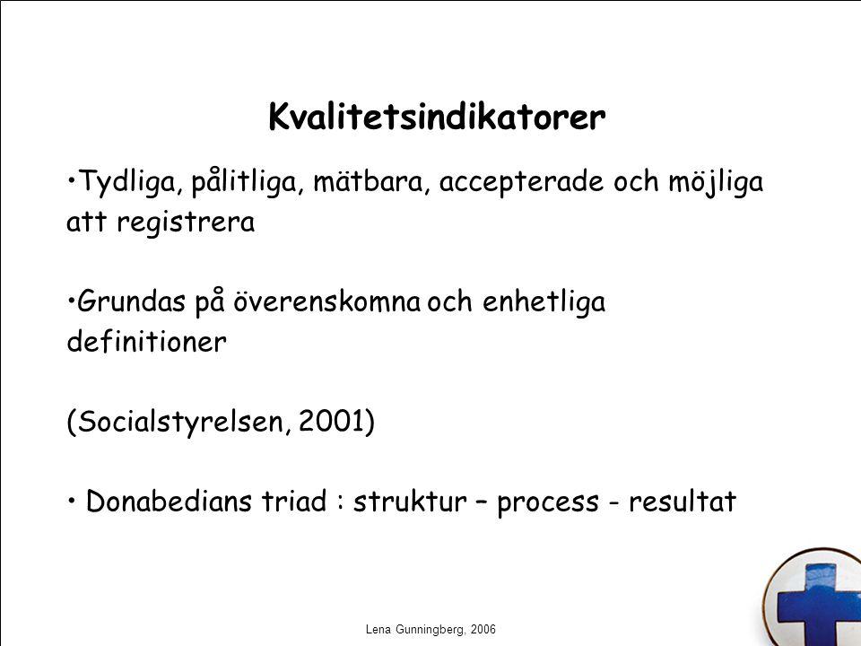 Lena Gunningberg, 2006 Kvalitetsindikatorer Tydliga, pålitliga, mätbara, accepterade och möjliga att registrera Grundas på överenskomna och enhetliga