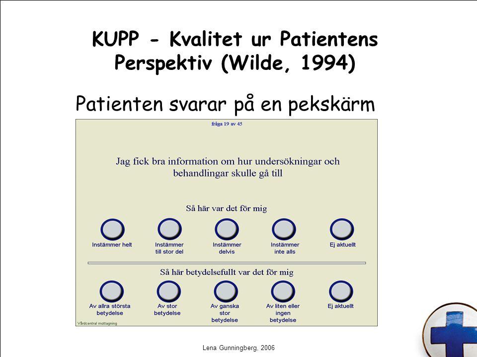 Lena Gunningberg, 2006 KUPP - Kvalitet ur Patientens Perspektiv (Wilde, 1994) Patienten svarar på en pekskärm