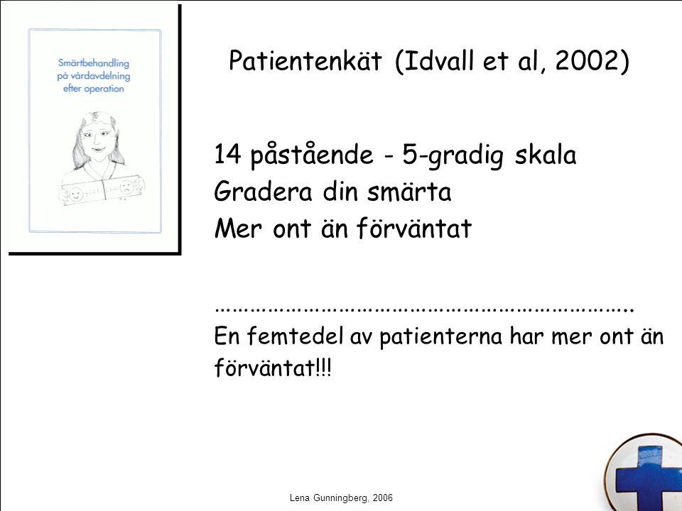 Lena Gunningberg, 2006 Patientenkät (Idvall et al, 2002) 14 påstående - 5-gradig skala Gradera din smärta Mer ont än förväntat ……………………………………………………………