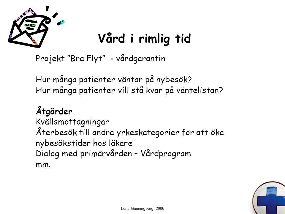 """Lena Gunningberg, 2006 Vård i rimlig tid Projekt """"Bra Flyt"""" - vårdgarantin Hur många patienter väntar på nybesök? Hur många patienter vill stå kvar på"""
