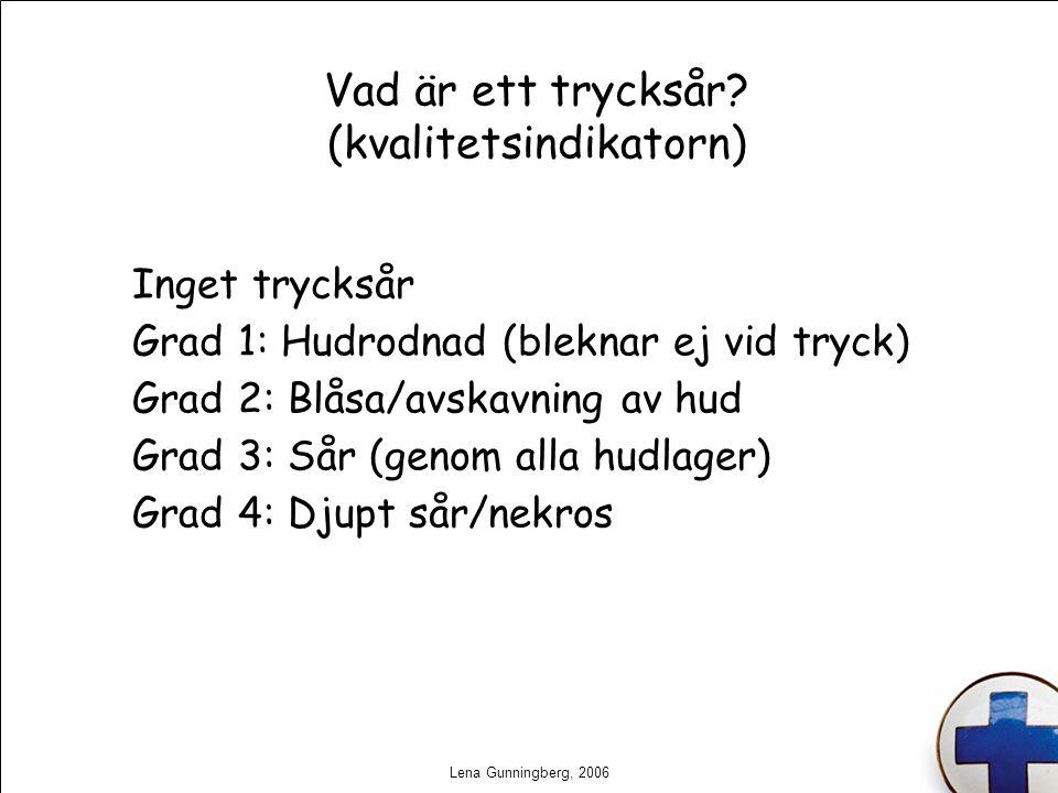 Lena Gunningberg, 2006 Vad är ett trycksår? (kvalitetsindikatorn) Inget trycksår Grad 1: Hudrodnad (bleknar ej vid tryck) Grad 2: Blåsa/avskavning av