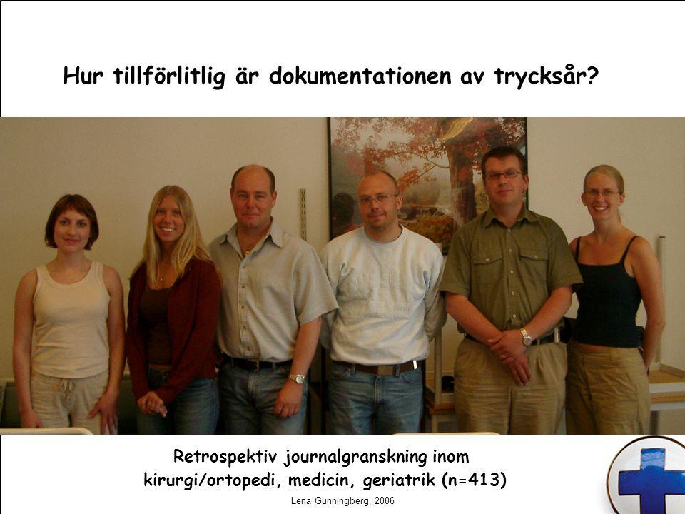 Lena Gunningberg, 2006 Hur tillförlitlig är dokumentationen av trycksår? Retrospektiv journalgranskning inom kirurgi/ortopedi, medicin, geriatrik (n=4
