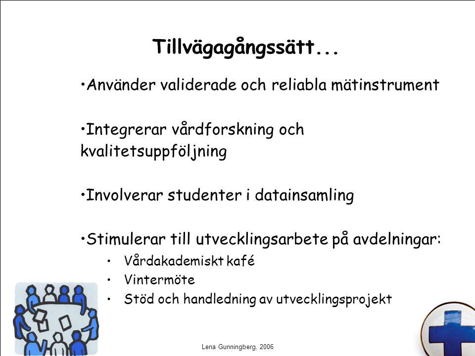 Lena Gunningberg, 2006 Tillvägagångssätt... Använder validerade och reliabla mätinstrument Integrerar vårdforskning och kvalitetsuppföljning Involvera
