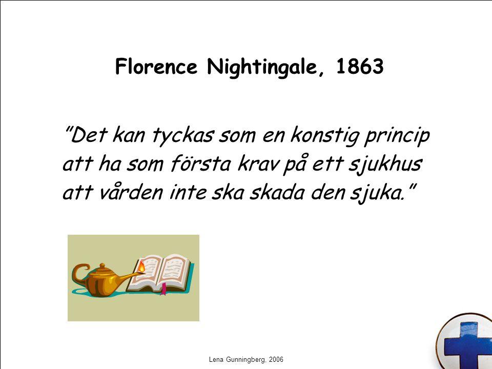 """Lena Gunningberg, 2006 Florence Nightingale, 1863 """"Det kan tyckas som en konstig princip att ha som första krav på ett sjukhus att vården inte ska ska"""