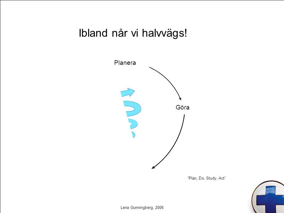 """Lena Gunningberg, 2006 Ibland når vi halvvägs! Planera Göra Analysera Agera """"Plan, Do, Study, Act"""""""