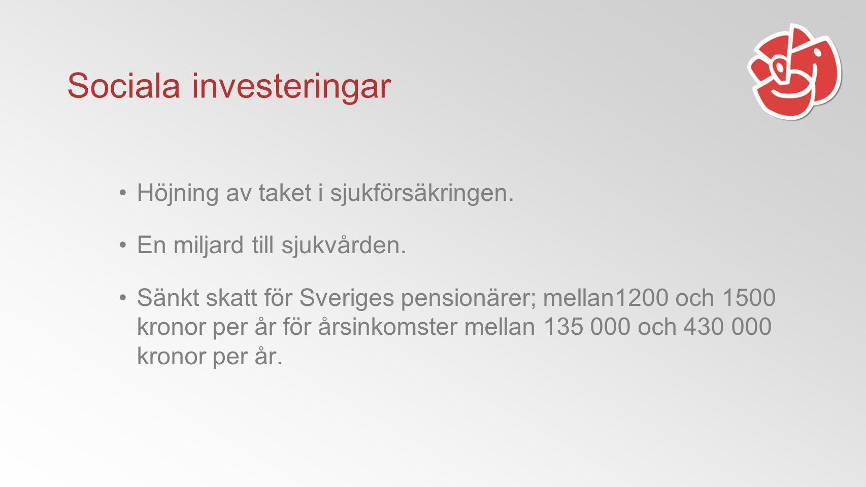 Sociala investeringar Höjning av taket i sjukförsäkringen.