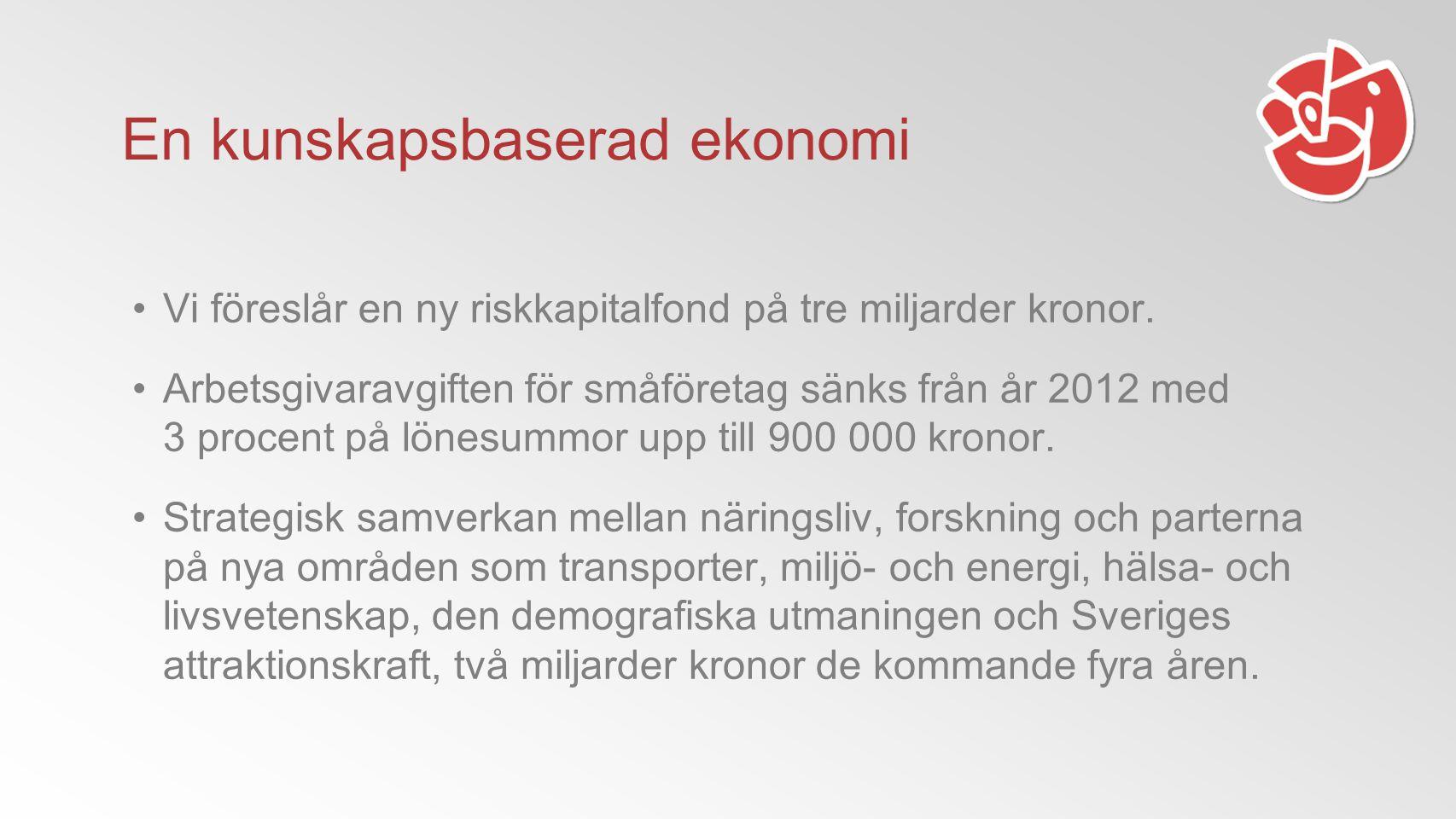 Vi föreslår en ny riskkapitalfond på tre miljarder kronor.