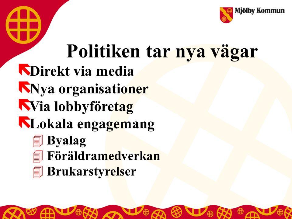 Politiken tar nya vägar ë Direkt via media ë Nya organisationer ë Via lobbyföretag ë Lokala engagemang 4 Byalag 4 Föräldramedverkan 4 Brukarstyrelser