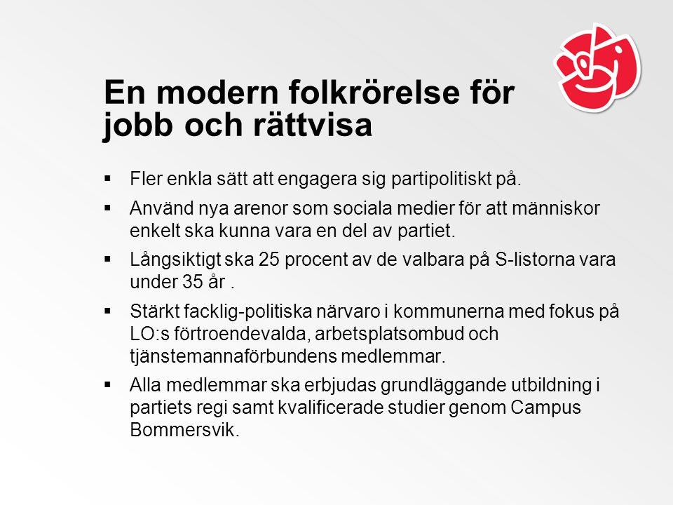 En modern folkrörelse för jobb och rättvisa  Fler enkla sätt att engagera sig partipolitiskt på.