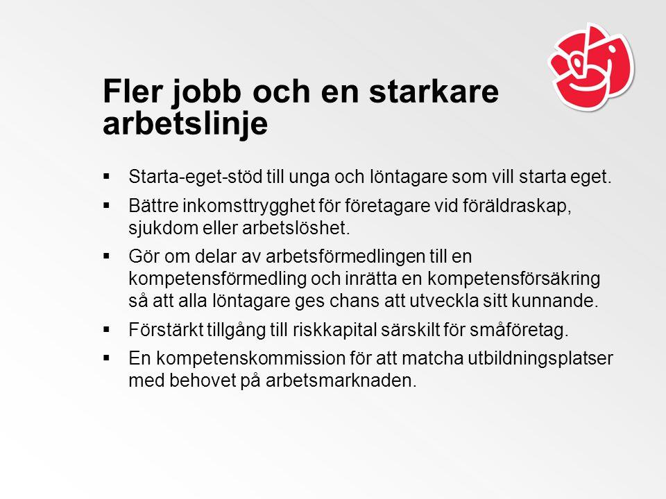 Fler jobb och en starkare arbetslinje  Starta-eget-stöd till unga och löntagare som vill starta eget.