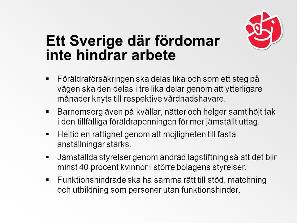 Ett Sverige där fördomar inte hindrar arbete  Föräldraförsäkringen ska delas lika och som ett steg på vägen ska den delas i tre lika delar genom att ytterligare månader knyts till respektive vårdnadshavare.