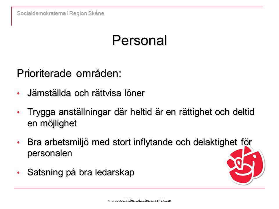 www.socialdemokraterna.se/skane Socialdemokraterna i Region Skåne Personal Prioriterade områden: Jämställda och rättvisa löner Jämställda och rättvisa