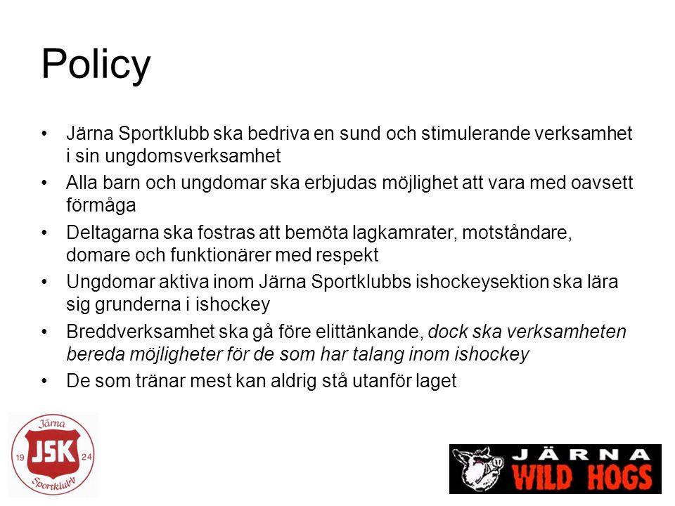 Policy Järna Sportklubb ska bedriva en sund och stimulerande verksamhet i sin ungdomsverksamhet Alla barn och ungdomar ska erbjudas möjlighet att vara