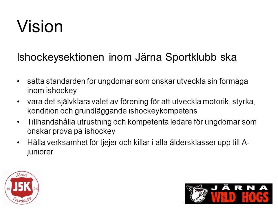 Vision Ishockeysektionen inom Järna Sportklubb ska sätta standarden för ungdomar som önskar utveckla sin förmåga inom ishockey vara det självklara valet av förening för att utveckla motorik, styrka, kondition och grundläggande ishockeykompetens Tillhandahålla utrustning och kompetenta ledare för ungdomar som önskar prova på ishockey Hålla verksamhet för tjejer och killar i alla åldersklasser upp till A- juniorer